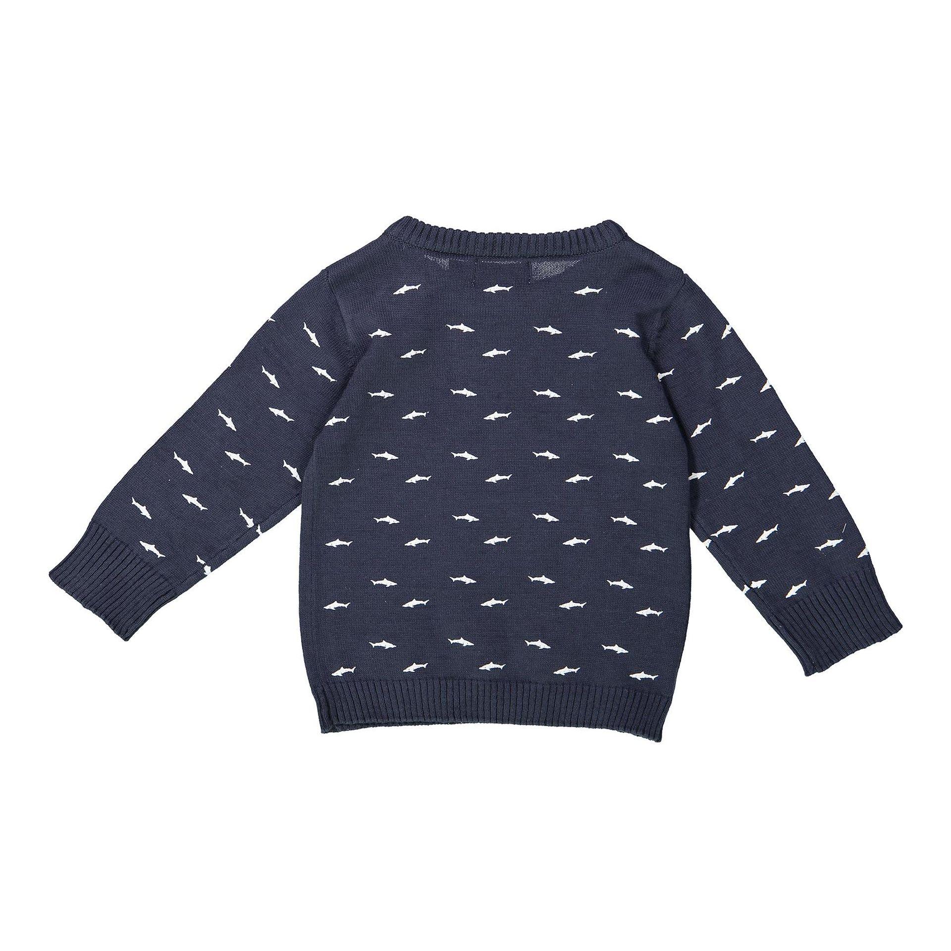 ee0e93f23884 ... Chlapecký svetr Dirkje tmavě modrý se žraloky