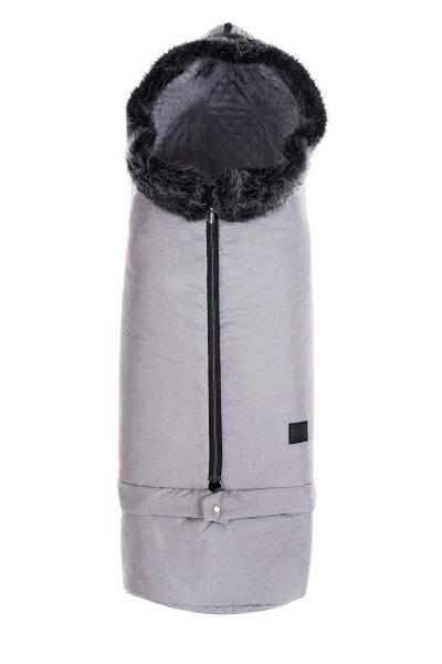 Zimní prodlužovací fusak Paradise Baby s kožešinou - světle šedý - minky