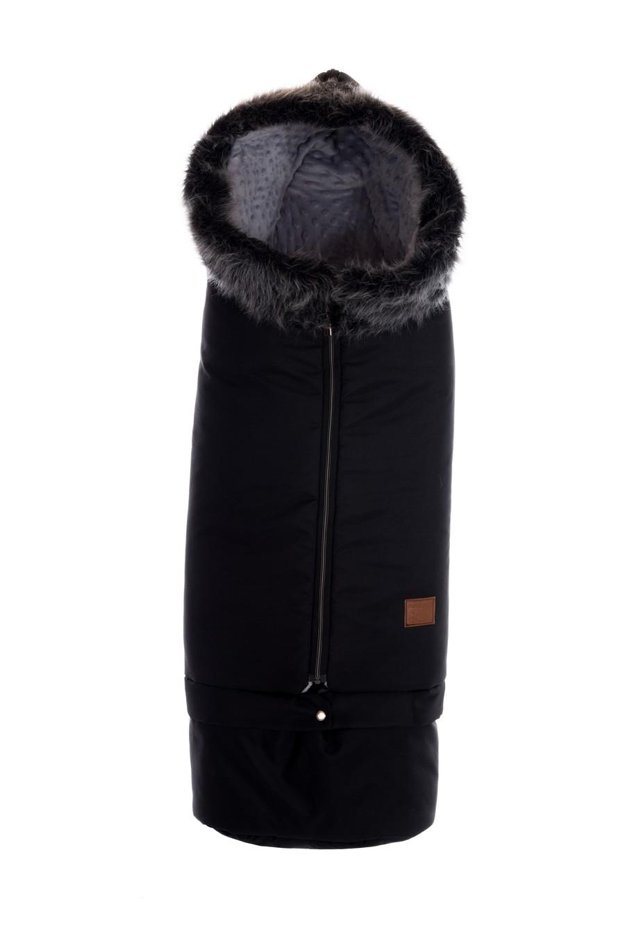 Zimní prodlužovací fusak Paradise Baby s kožešinou - černý - minky