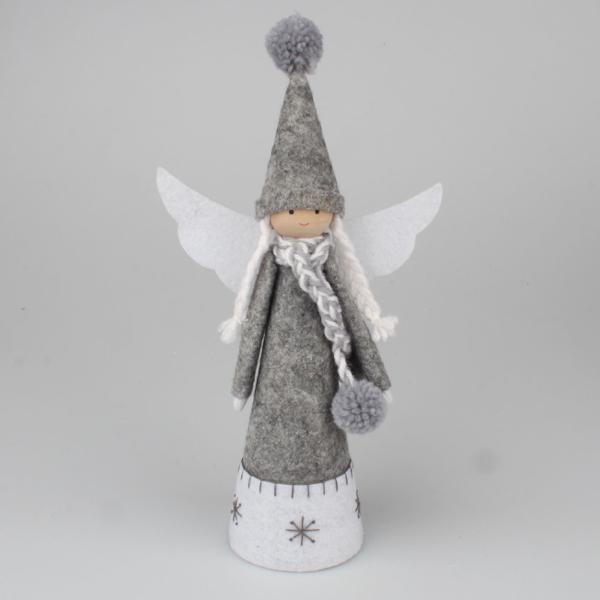 dekorace Anděl šedý s čepicí 28cm