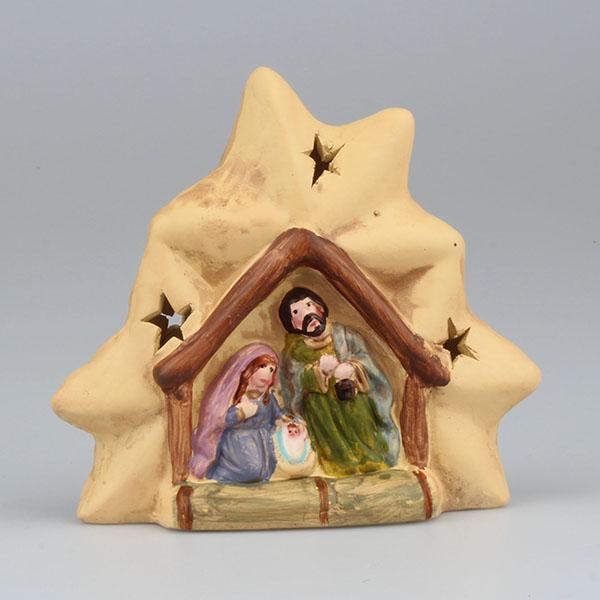 Vánoční dekorace keramický betlem - svícen