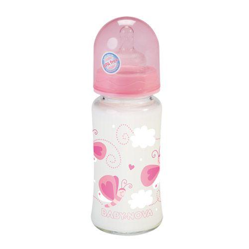 Skleněná láhev 240ml - růžová