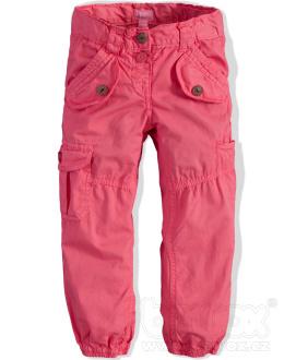 Dívčí plátěné kalhoty Minoti lososová