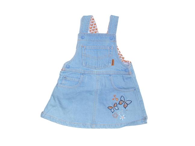 Riflové šaty s motýly vel. 68