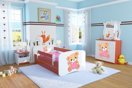 Dětská postel se zábranou - Méďa se srdíčkem