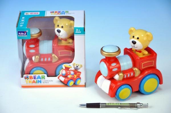 Modrý vláček s medvídkem svítí,jezdí a hraje