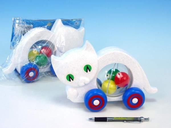 Kočka s míčky tahací plastová