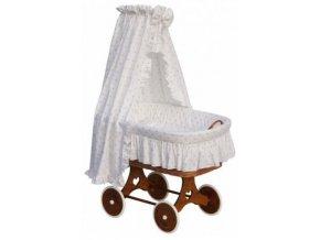 Proutěný košík pro miminko s nebesy Scarlett Péťa - bílá