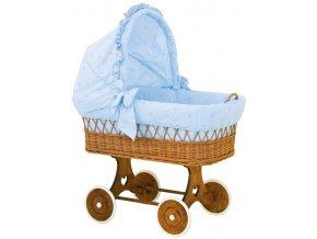 Proutěný koš pro miminko s boudičkou Méďa - modrý