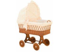 Proutěný koš pro miminko s boudičkou Šárka - béžová