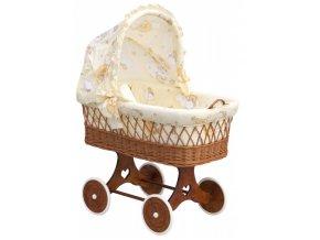 Proutěný košík na miminko s boudičkou Mráček - béžová