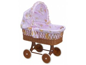 Proutěný košík na miminko s boudičkou Mráček - růžová