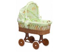 Proutěný košík na miminko s boudičkou Mráček - zelená