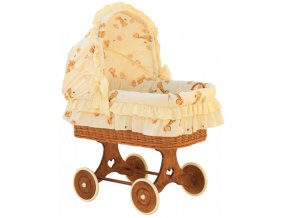 Proutěný košík pro miminko s boudičkou Žirafa - žlutá
