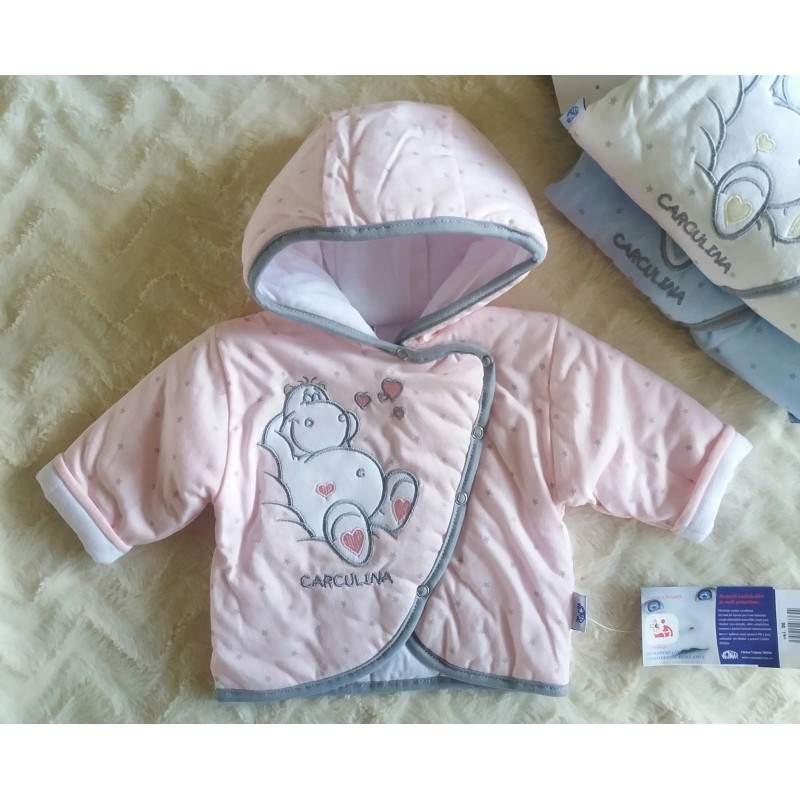 Vyteplená kojenecká bundička Hrošík růžová (Vejnar)