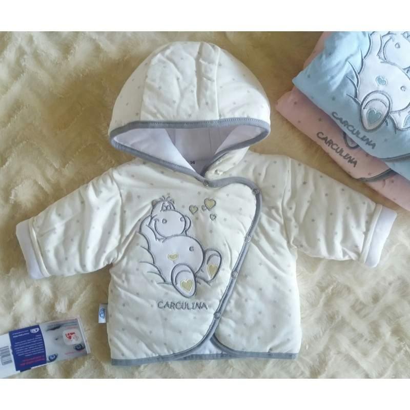 Vyteplená kojenecká bundička Hrošík smetanová (Vejnar)