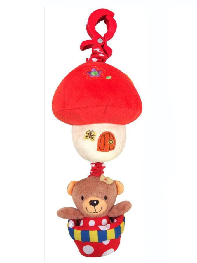 Závěsná hračka na kočárek s melodií Medvídek červený